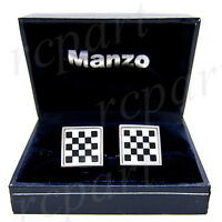 New Men's Cufflinks cuff links square mother of pearl black white checkers