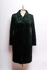NWOT L'Autre Chose hunter green faux Persian lamb silk Swing Coat made n Italy