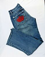 Rock & Republic Sz 29 Victoria Beckham Bootcut Jeans  Embroidered Crown Raw Hem