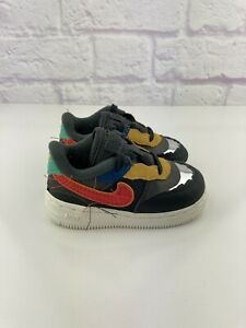Nike Air Force 1 Black History Month QS Size 6c Shoes Grey Red [CV2416-001]