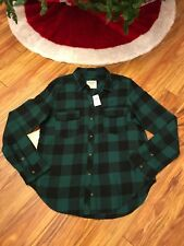 NWT Abercrombie And Fitch Women's Green Buffalo Plaid Flannel Shirt Size Large