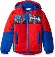 Marvel Boys 2661520SP Imported Polyester Machine Wash Spiderman Puffer Coat- Red