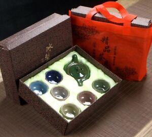 AU TEAPOT SET Ice Crack Glaze Teapot + 6 cups Porcelain Kung Fu Tea