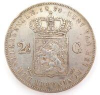 .NICE GRADE 1874 NETHERLANDS 2 1/2 GULDEN COIN.