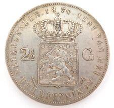 NICE GRADE 1874 NETHERLANDS 2 1/2 GULDEN COIN.