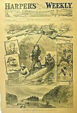 New Brunswick Canada, Salmon Fishing On The Restigouche River 1882 Antique Print