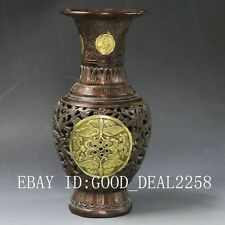 Chinese Bronze Gilt Hand-carved Hollow Vase w Ming Dynasty XuanDe Mark