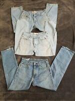 Levi 505 Men's Blue Jeans W32 L30 & W30 L32 3 pairs for arts & craft repurposing