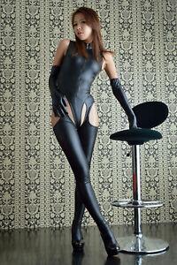 Ladies Sexy faux leather wetlook bodysuit Catsuit Costume suspender UK 8-16