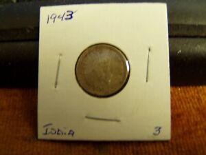 1943 India 1/4 Rupee Silver Coin,VF Condition