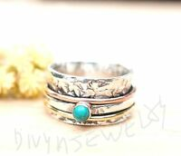 Turquoise Solid 925 Sterling Silver Spinner Ring Meditation statement Ring sr213