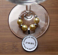PERSONALISED WEDDING FAVOUR GIFT WINE GLASS CHARM COLOUR CHOICE KEEPSAKE MULTI
