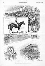 The Suburban Views  -  Horse Racing - Sheepshead Bay Track - 1891 Antique Print