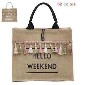 Women Summer Beach Bags Handbags Large Capacity Lady Tassel Shoulder Casual Bag