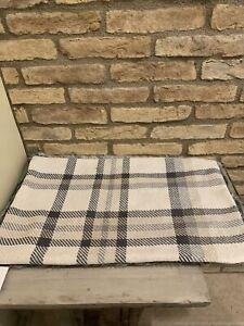 Pottery Barn Nottingham Plaid Faux Fur Back Lumbar Pillow Cover Gray Ivory Decor