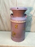 Vtg 7 Gallon Steel Milk Can Purple Easter Spring Decals  Table Plant Stand