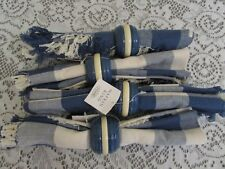 Set of Four Blue White Plaid 100% Cotton Napkins with Rings by Home NEW