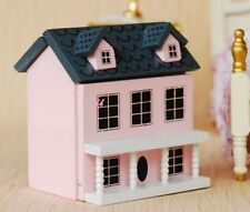 1:12 Dollhouse Miniature Kid Toy Pink Wood Dollhouse Miniature Can Open Door ♫