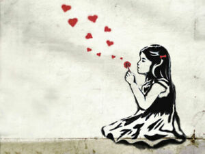 BANKSY GIRL BLOWING HEARTS CANVAS PICTURE POSTER PRINT UNFRAMED 6916