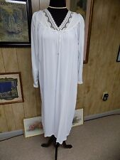 Ice Blue Nylon white Lace Trim Barbizon Waltz Length Nightgown Medium