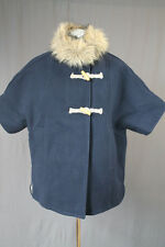 NEW $218 J.Crew Crewcuts Girls' Sherpa Lined Cape Coat L Navy NWT E0469 12 14