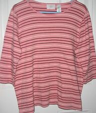 PLUS SIZE 1P 3/4 sleeve  pink knit TOP / SWEATER  by LIZ CLAIBORNE WOMAN NWOT