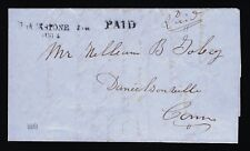 1851 STAMPLESS COVER BLACKSTONE, MA TO DANIELSONVILLE, CT PSE CERT YALE UNIV.