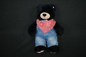 build a bear - black bear stuffed animal 17 inch tall + Clothes