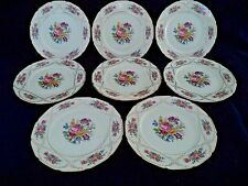 Rosenthal china 8 dinner plates 10.5in Continental Ivory Dresden Flowers roses