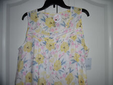 NEW Women's Croft/&Barrow Sleep//Lounge Knee Length Gown White w//Pink Size 4X
