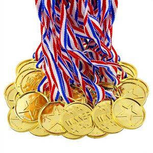 12 Kids School Sports Day Teacher Reward Winner Gold Plastic Medals & Lanyards