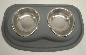 WeatherTech Gray Mat 2 Bowl Pet Feeding System B1PB4TR Gray 16 oz Cups
