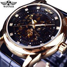 AUTOMATIC Winner Royal Diamond Design Black Gold Watch Montre Homme Mens Watch