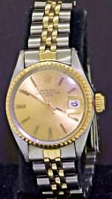 Rolex Date 6517 elegant SS/14K gold 1968 automatic lady's watch w/ gold dial