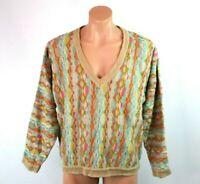 VTG 90s COOGI Australia Cosby BIGGIE Cosby sweater V-Neck Pastel Hip Hop sz L