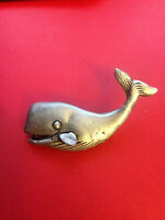 New Pewter Whale Silver Tone Sea Animal Brooch Pin 2""