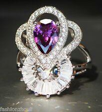 925 Silver Filled Purple Sapphire Gemstone Size9 Birthstone Wedding Ring 614