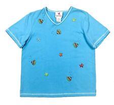 Quacker Factory Womens M Top Short Sleeve Shirt Beaded Fish Blue V Neck Medium