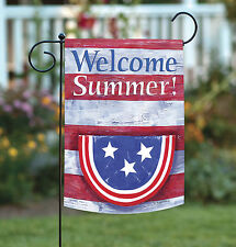 New Toland - Bunting on Stripes Welcome Summer - Patriotic Usa Garden Flag