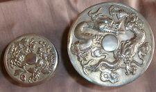 2 boîtes argent massif & vermeil - Dragon volant et Chrysanthèmes - Asie Chine