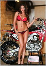HONDA CRF250 SUPERCROSS RACE BIKE w/ MX GIRL PIN UP GIANT POSTER FOLDED metal