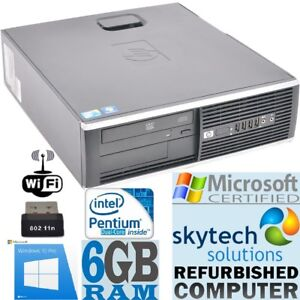 Fast Windows 10 PRO Computer HP Dual Core Huge 6GB RAM SFF WiFi Cheap Desktop PC