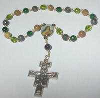 Handmade in USA St Therese of Lisieux Rosary Chaplet w/ Peace Prayer Crucifix