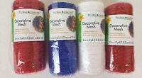 Floral Garden Decorative Mesh Floral Ribbon 6 in x 5 yds Lot 4 Red White Blue