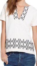 MADEWELL women's IVORY+BLACK Boxstitch Slub Embroidered TUNIC top Size: S/XS