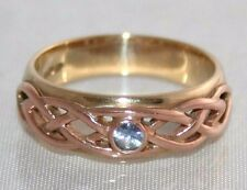 Fine Clogau Welsh 9ct Yellow Rose Gold Sapphire Celtic Lovers Weave Ring P 73/4