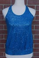 Juniors Girl's Volume One Sequence Blue Tank Cami Top Size L