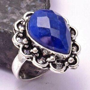Blue Sapphire Ethnic Handmade Ring Jewelry US Size-7.25 AR 27442