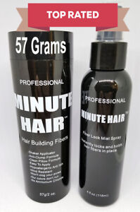 Hair Fibers 57g Bottle & Spray Black Brown Blond Gray White Auburn Minute Hair™