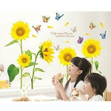 Novel Sunflower Butterfly Flying Wall Paper Bedroom DIY Nice Decor Wall Sticker